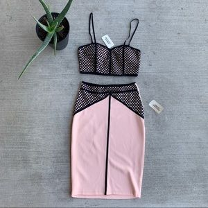 NWT pink and black two piece